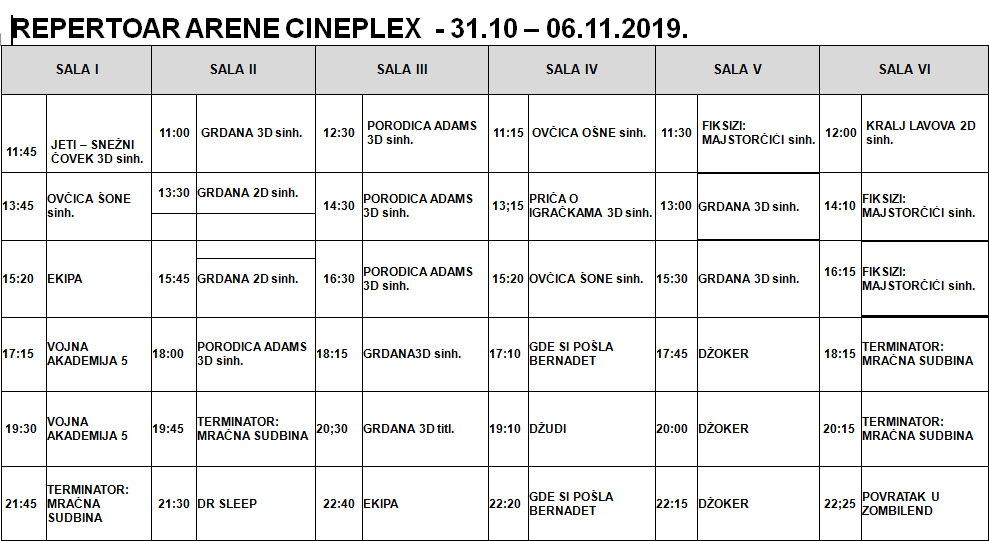 Repertoar Arene Cineplex do 6. novembra