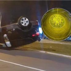 SAOBRAĆAJKA NA NOVOM BEOGRADU: Automobil se PREVRNUO na kružnom toku (FOTO)