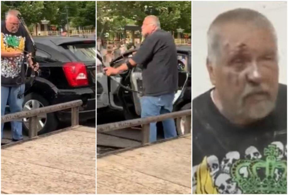 ŠOK SNIMAK IZ AMERIKE! IZVADIO LUK I STRELU I NIŠANIO DEMONSTRANTE: Brutalno ga pretukli i uništili mu automobil (VIDEO)