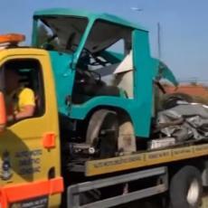 STRAVIČNA SCENA KOD LESKOVCA: Teretni voz naleteo na kamion, vozilo smrskano! (VIDEO)