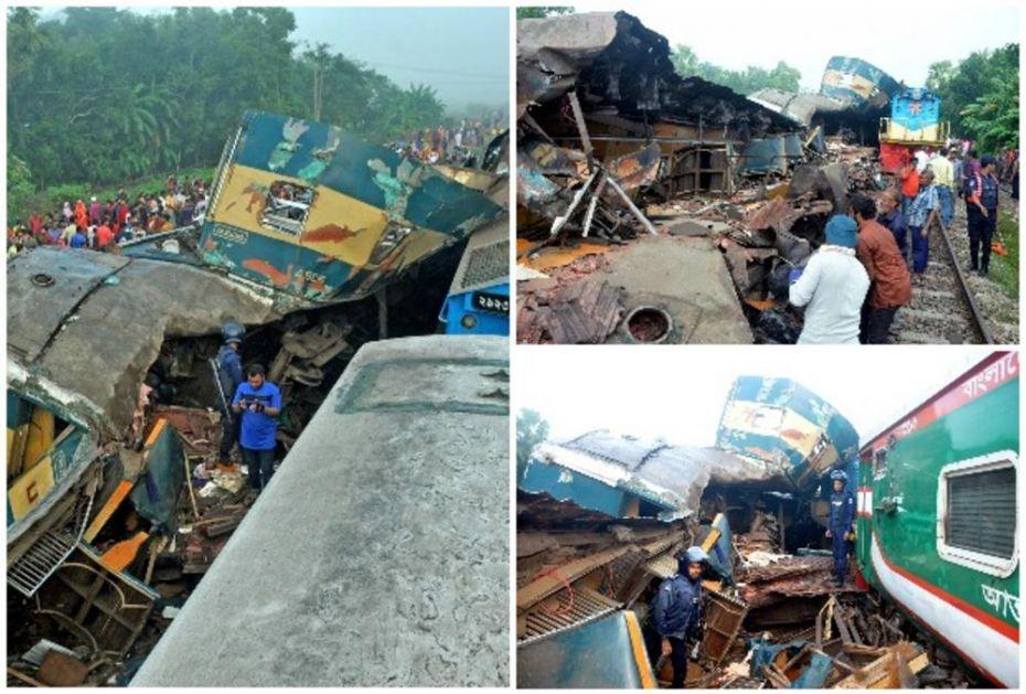 SUDAR DVA BRZA VOZA U BANGLADEŠU: U gomili smrskanog čelika 15 mrtvih i preko 100 povređenih (FOTO, VIDEO)