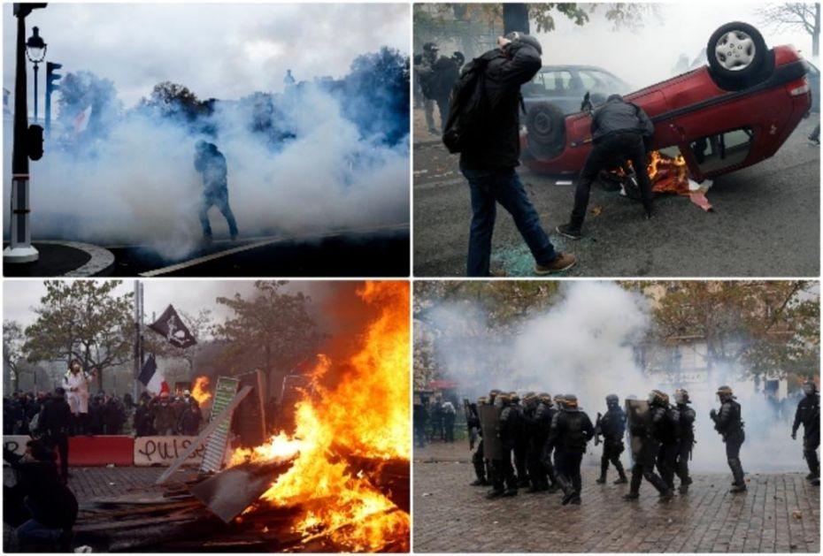 SUZAVAC I VODENI TOPOVI ZA GODIŠNJICU PROTESTA: Pariz u plamenu, Žuti prsluci palili automobile, policija ih sprečila da blokiraju kružni tok (FOTO, VIDEO)