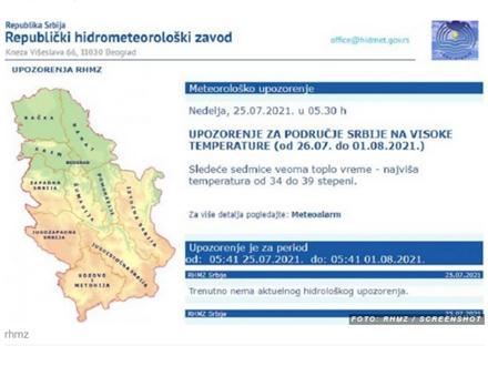 Sedam paklenih dana RHMZ: izdao upozorenje na veoma visoke temperature, tako će biti sve do 1. Avgusta
