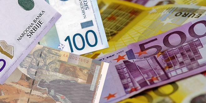 Srednji kurs 117,58 dinara za evro