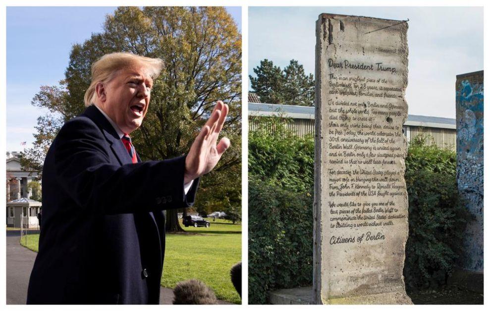TRAMP ČESTITAO NEMCIMA JUBILEJ RUŠENJA BERLINSKOG ZIDA: Ipak, odbio je poklon iz Berlina - deo zida sa posvetom! (FOTO)