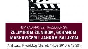 "Tribina ""Film kao protest"" 14. februara na Filozofskom fakultetu"