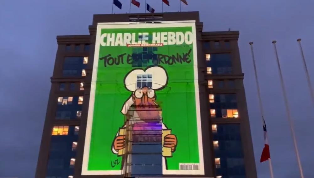 U INAT ISLAMISTIMA: Karikature Šarli ebdoa sa prikazima Muhameda projektovane na zgradama u Francuskoj (VIDEO)