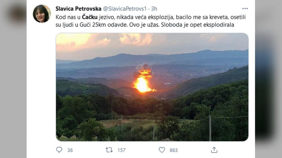 Ugašen požar u fabrici Sloboda, evakuisano 150 domaćinstava