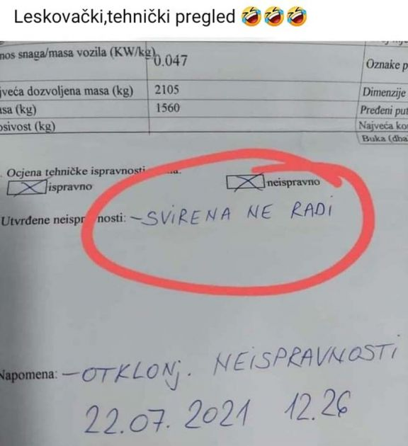 Urnebesni izveštaj sa tehničkog pregleda vozila u Leskovcu nasmejaće vas za sve pare