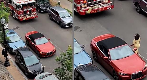 VIDEO: BMW-om sprečila prolazak, pogledajte šta su joj napravili vatrogasci