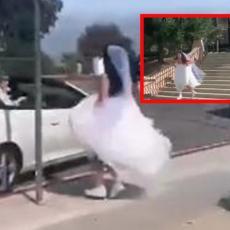 (VIDEO) DRAMA, BEŽI SA VENČANJA: Mlada trči koliko je noge nose, MLADOŽENJA pokušao da je spreči...