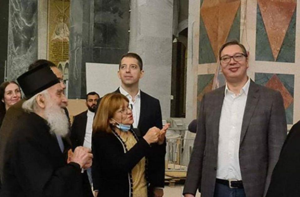 VUČIĆ U HRAMU SVETOG SAVE: Predsednik Srbije sa patrijarhom obišao završne radove!