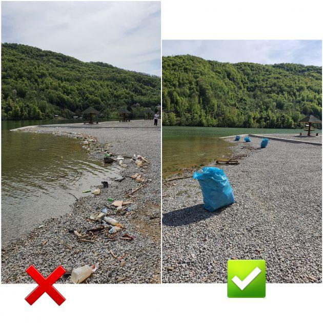 """Volonteri iz Ribarića očistili """"Pazarsku plažu"""" – Čuvajmo jezero, budimo savjesni"""