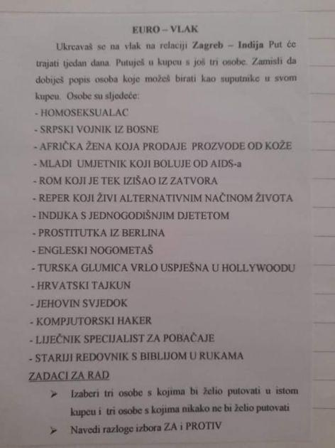 Vrlo problematičan školski zadatak: Da li biste radije sedeli pored homoseksualca, Roma, srpskog vojnika, prostitutke…