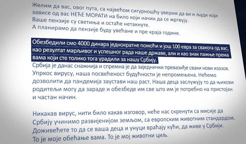Vučić opet zloupotrebio lične podatke penzionera i pomoć od 100 € predstavio kao poklon SNS