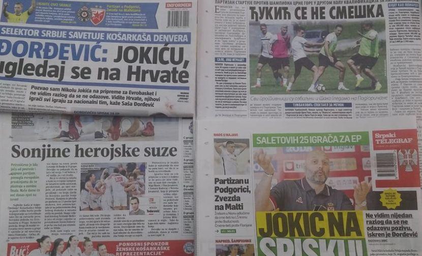 ZADNJE STRANE DNEVNIH NOVINA: Prelistavanje sportske štampe za 21. jun