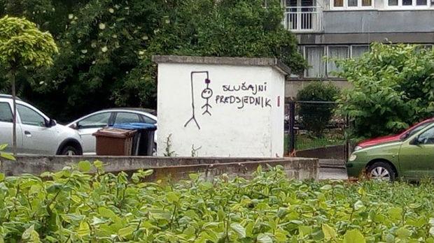 Grafit obešenog čoveka u Zagrebu - natpis slučajni predsednik