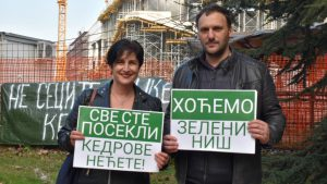 Protest u Nišu zbog gradske odluke o seči drveća na ulazu u firmu Miroslava Miškovića