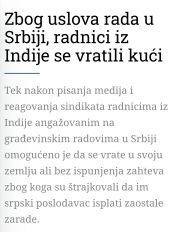 Zbog usloa rada u Srbiji, radnici iz Indije se vratili kući